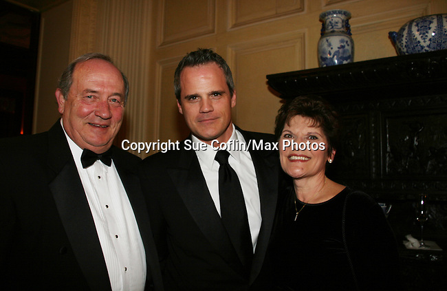 """As The World Turns' Michael Park with his dad Georgie and mom Rosemary as they attend """"When You Wish Upon A Star"""" on March 6, 2010 which benefits Child Life and Creative Arts Therapy Department, Maria Fareri Children's Hospital at Westchester Medical Center, Westchester, New York. The evening began with a cocktail reception and silent auction, a children's performance (singing) followed by dinner, dancing and more. (Photo by Sue Coflin/Max Photos)"""