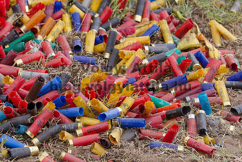 Empty shells lie on the ground during the Cowboy Action Shooting European Championship in Dabas, Hungary on August 11, 2012. ATTILA VOLGYI