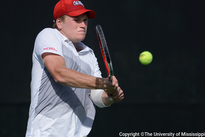 William Kallberg, Men's Tennis vs. Kentucky.  Photo by Kevin Bain/Ole Miss Communications