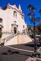 Taormina, Baroque Church of St Joseph in Piazza IX Aprile on Corso Umberto, the main street in Taormina, Sicily, Italy, Europe. This is a photo of the Baroque Church of St Joseph at Piazza IX Aprile on Corso Umberto, the main street in Taormina, Sicily, Italy, Europe.
