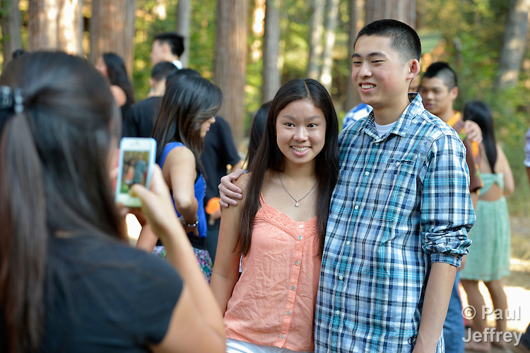 Participants pose for a photo during the 2013 Asian American Camp for United Methodist youth in the west of the United States. The camp was held at Camp Sierra in Big Creek, California.