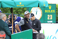 Lee Westwood (ENG) on the 1st tee during Saturday's rain delayed Round 2 of the Andalucia Valderrama Masters 2018 hosted by the Sergio Foundation, held at Real Golf de Valderrama, Sotogrande, San Roque, Spain. 20th October 2018.<br /> Picture: Eoin Clarke | Golffile<br /> <br /> <br /> All photos usage must carry mandatory copyright credit (&copy; Golffile | Eoin Clarke)