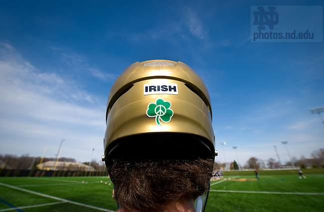 "Apr. 21, 2011; Men's Lacrosse helmet with the ""Play for Peace"" logo...Photo by Matt Cashore/University of Notre Dame"