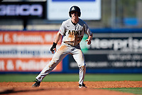 Army West Point center fielder Jacob Hurtubise (39) leads off second base during a game against the Michigan Wolverines on February 17, 2018 at First Data Field in St. Lucie, Florida.  Army defeated Michigan 4-3.  (Mike Janes/Four Seam Images)