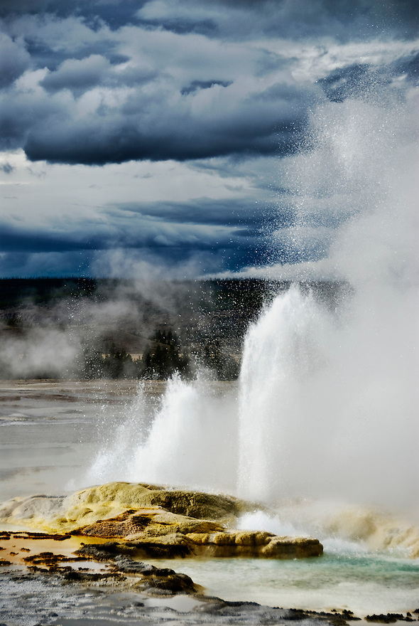 A geyser erupts in Lower Geyser Basin, Yellowstone National Park.
