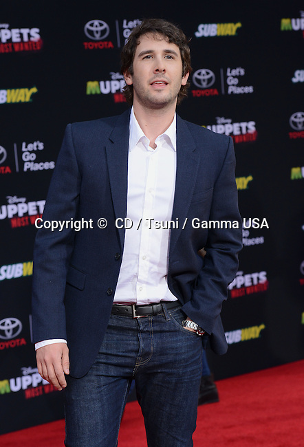 Josh Groban arriving at the Muppets Most Wanted Premiere at the El Capitan Theatre in Los Angeles.