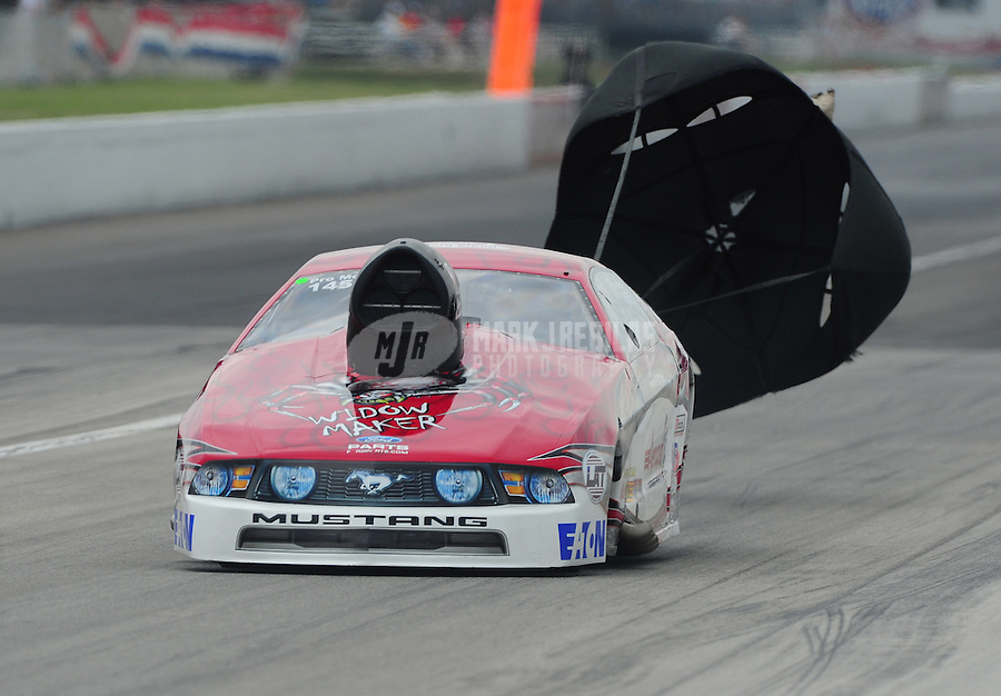 Sept. 4, 2011; Claremont, IN, USA: NHRA pro mod driver Mike Janis during qualifying for the US Nationals at Lucas Oil Raceway. Mandatory Credit: Mark J. Rebilas-