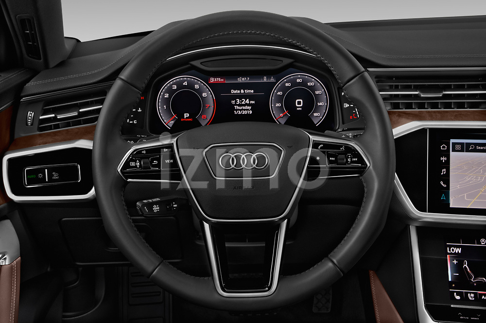 Car pictures of steering wheel view of a 2019 Audi A6 S-Line 4 Door Sedan Steering Wheel