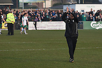 Manager Paul Hurst of Grimsby Town applauds the fans following the FA Trophy Semi Final first leg match between Bognor Regis and Grimsby Town at Nyewood Lane, Bognor Regis, England on 12 March 2016. Photo by Paul Paxford/PRiME Media Images.