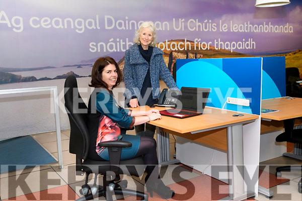 Mol Teic Daingean Uí Chúis (Dingle Hub) manager Deirdre de Bhailís with Aine Moynihan from An Lab and Dúchas Daingean Uí Chúis.