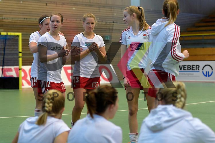 GER - Luebeck, Germany, February 06: Before the 1. Bundesliga Damen indoor hockey semi final match at the Final 4 between Rot-Weiss Koeln (white) and Mannheimer HC (blue) on February 6, 2016 at Hansehalle Luebeck in Luebeck, Germany. <br /> <br /> Foto &copy; PIX-Sportfotos *** Foto ist honorarpflichtig! *** Auf Anfrage in hoeherer Qualitaet/Aufloesung. Belegexemplar erbeten. Veroeffentlichung ausschliesslich fuer journalistisch-publizistische Zwecke. For editorial use only.