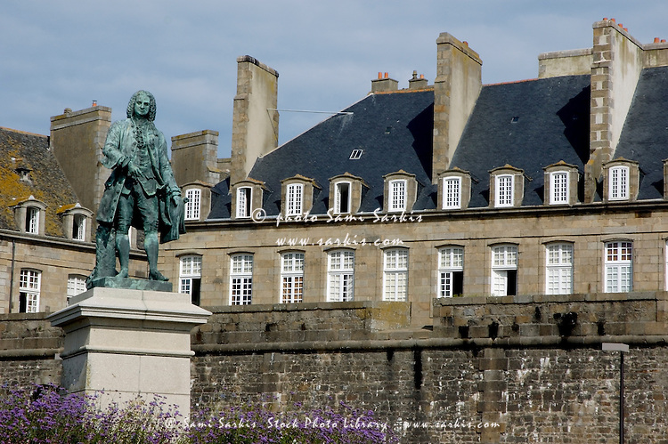 Bronze statue of the French writer François-René de Chateaubriand, Saint Malo, Brittany