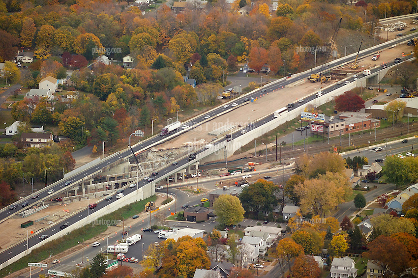 I-95 in East Haven Connecticut. Aerial Photograph taken November 8, 2005 at peak autumn foliage. Construction progress image capture. Showing interchanges, overpasses and Amtrak rail right of way where applicable.