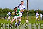 Danny Carroll of Tralee CBS chases against Aidan McGuane of St Flannan's in the Frewen Cup Final held last Wednesday in Croagh, Co. Limerick. .