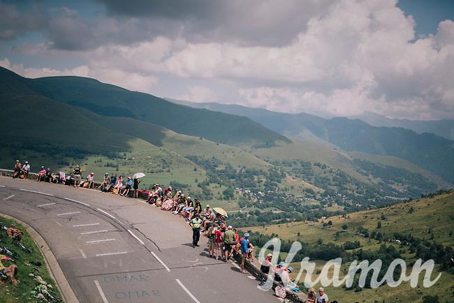 fans waiting for the race up the Col de Val Louron-Azet <br /> <br /> Stage 17: Bagnères-de-Luchon > Saint-Lary-Soulan (65km)<br /> <br /> 105th Tour de France 2018<br /> ©kramon