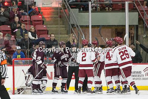 -  - The Harvard University Crimson defeated the visiting Colgate University Raiders 7-4 (EN) on Saturday, February 20, 2016, at Bright-Landry Hockey Center in Boston, Massachusetts.