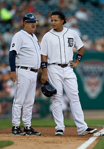 August 23, 2010: Detroit Tigers first baseman Miguel Cabrera (#24) and third base coach Gene Lamont during game action between the Kansas City Royals and the Detroit Tigers at Comerica Park in Detroit, Michigan.  The Tigers defeated the Royals 12-3.