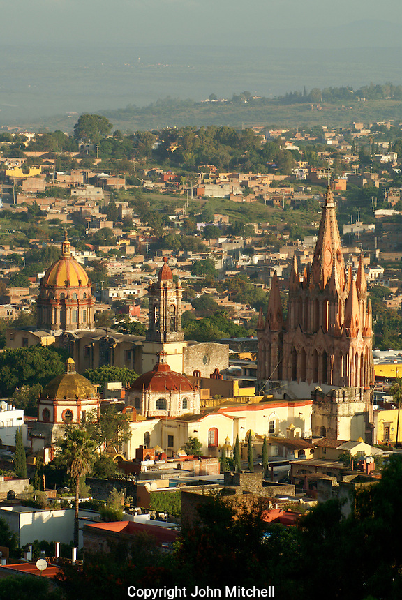 The historical center of San Miguel de Allende from above, Mexico. San Miguel de Allende is a UNESCO World Heritage Site....