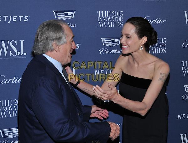 New York,NY-November 4: Robert De Niro, Angelina Jolie Pitt attend the WSJ. Magazine 2015 Innovator Awards at the Museum of Modern Art on November 4, 2015 in New York City. <br /> CAP/MPI/STV<br /> &copy;STV/MPI/Capital Pictures