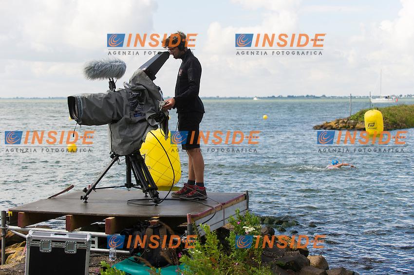 TV camera<br /> Hoorn, Netherlands <br /> LEN 2016 European Open Water Swimming Championships <br /> Open Water Swimming<br /> Women's 5km<br /> Day 02 12-07-2016<br /> Photo Giorgio Perottino/Deepbluemedia/Insidefoto