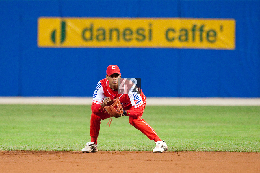 24 September 2009: Hector Olivera of Cuba is seen on defense during the 2009 Baseball World Cup final round match won 5-3 by Team USA over Cuba, in Nettuno, Italy.