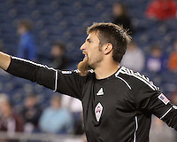 Colorado Rapids goalkeeper Matt Pickens (18) preparing for a free kick.  The Colorado Rapids defeated the New England Revolution, 2-1, at Gillette Stadium on April 24.2010