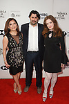 (Left - right) Frida Torresblanco, Eric Laufer, Giovanna Randall arrive at the U.S. premiere of the movie Disobedience, on April 22 2018, during the Tribeca Film Festival in New York City.