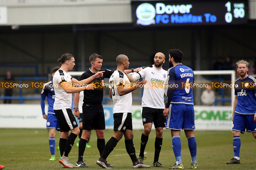 Referee Mr Craig Hicks, urges Dover's Stefan Payne, to leave the pitch a bit quicker after seeing his number being held up on the touchline during Dover Athletic vs FC Halifax Town, Vanarama National League Football at the Crabble Athletic Ground on 2nd April 2016