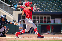 Springfield Cardinals infielder Conner Capel (12) connects on a pitch on May 19, 2019, at Arvest Ballpark in Springdale, Arkansas. (Jason Ivester/Four Seam Images)