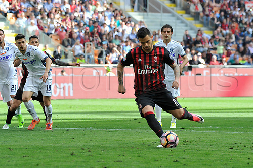 April 23rd 2017, San Siro Stadium, Milan, Italy; Suso of Milan takes and misses the penalty during Serie A football AC Milan versus Empoli;