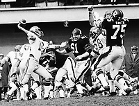 Jerry Keeling Calgary Stampeders quarterback 1972, Against the Ottawa Rough Riders. Copyright photograph Scott Grant