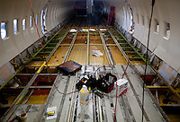 An emptied out interior of a Southwest Airlines plane under repair near Love Field Airport in Dallas, Texas, Wednesday, October 27, 2010...PHOTO/ MATT NAGER