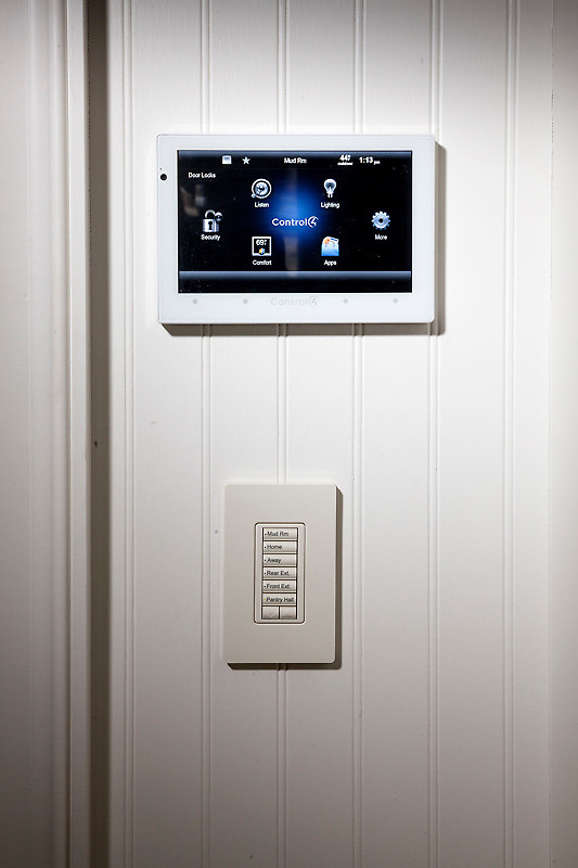 Light up your house right as you walk in the front door. This Control 4 entry touchscreen gives you everything you need right as you walk in.