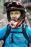 CANADA, Vancouver, British Columbia, portrait of mountain biker Andrew Baker in the rainforest, North Vancouver