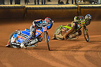 Brady Kurtz of Poole Pirates and Nikolaj Busk Jakobsen of Poole Pirates lead in Heat 4 during Poole Pirates vs King's Lynn Stars, SGB Premiership Shield Speedway at The Stadium on 11th April 2019