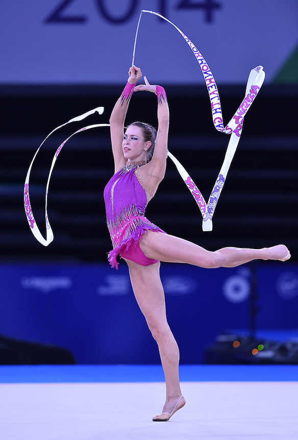 Wales' Francesca Jones competes in rhythmic gymnastics team final and individual qualification subdivision 2<br /> <br /> Photographer Chris Vaughan/CameraSport<br /> <br /> 20th Commonwealth Games - Day 1 - Thursday 24th July 2014 - Rhythmic Gymnastics - The SSE Hydro - Glasgow - UK<br /> <br /> &copy; CameraSport - 43 Linden Ave. Countesthorpe. Leicester. England. LE8 5PG - Tel: +44 (0) 116 277 4147 - admin@camerasport.com - www.camerasport.com
