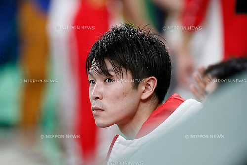 Kohei Uchimura (JPN),<br /> AUGUST 8, 2016 - Artistic Gymnastics :<br /> Kohei Uchimura of Japan reacts after performing on the rings in the Men's Team Final at Rio Olympic Arena during the Rio 2016 Olympic Games in Rio de Janeiro, Brazil. (Photo by Yuzuru Sunada/AFLO)