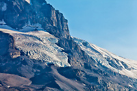 Looking up at the mountains at Athabasca Glacier
