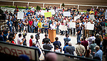 JUNE 20: Oscar De la Torre talks as the backstretch workers rally at Santa Anita Park to show how many lives are impacted by the horse racing industry in California in Arcadia, California on June 20, 2019. Evers/Eclipse Sportswire/CSM
