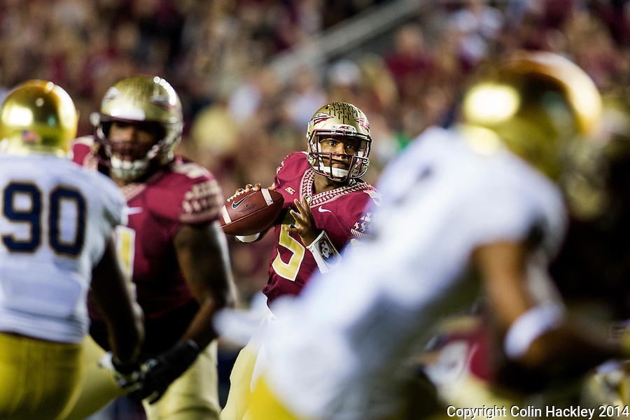 TALLAHASSEE, FLA. 10/18/14-FSU-ND101814CH-Florida State's Notre Dame's during first half action Saturday at Doak Campbell Stadium in Tallahassee. <br /> COLIN HACKLEY PHOTO