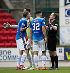 St Johnstone v Aberdeen&hellip;15.09.18&hellip;   McDiarmid Park     SPFL<br />Referee Willie Collum tries to calm Blair Alston and Tony Watt<br />Picture by Graeme Hart. <br />Copyright Perthshire Picture Agency<br />Tel: 01738 623350  Mobile: 07990 594431