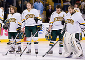 Christopher Atkinson (Vermont - 11), Kevan Miller (Vermont - 15), Corey Carlson (Vermont - 13), Mike Spillane (Vermont - 31) - The Boston College Eagles defeated the University of Vermont Catamounts 4-0 in the Hockey East championship game on Saturday, March 22, 2008, at TD BankNorth Garden in Boston, Massachusetts.