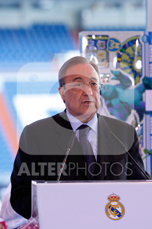 Real Madrid´s President Florentino Perez attends the presentation of No kids without a present on Christmas campaign at Bernabeu stadium in Madrid, Spain. December 16, 2013. (ALTERPHOTOS/Victor Blanco)
