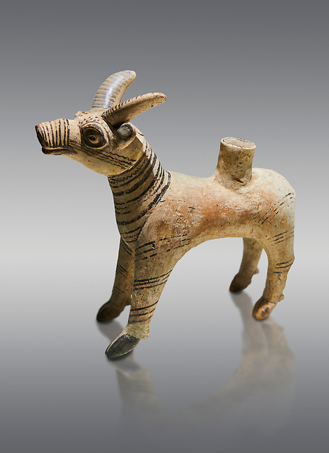 Bronze Age Anatolian terra cotta antilope shaped ritual vessel- 19th to 17th century BC - Kültepe Kanesh - Museum of Anatolian Civilisations, Ankara, Turkey. Against a grey background.