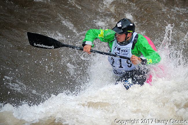 June 8, 2017 - Vail, Colorado, U.S. - C-1 paddler, Jordan Poffenberger, sets up for a maneuver on Gore Creek in the Freestyle Kayak competition during the GoPro Mountain Games, Vail, Colorado.  Adventure athletes from around the world meet in Vail, Colorado, June 8-11, for America's largest celebration of mountain sports, music, and lifestyle.