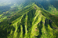 An aerial view of the green cliffs of Ko'olau Range on the East Side of O'ahu.