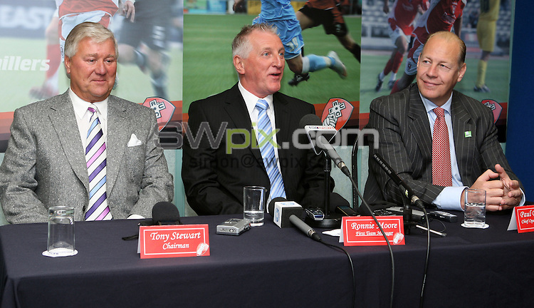 PICTURE BY Paul Wickson/SWPIX.COM - Rotherham United appoint Ronnie Moore....24/09/09..Copyright - Simon Wilkinson - 07811267706...Rotherham United FC - Coca Cola League 2 - 25th September 2009 - Ronnie Moore (centre) looks a happy man as he talks to the press flanked by Chairman Tony Stewart (left) and Chief Operating Officer Paul Douglas (right) as he returns to Rotherham United