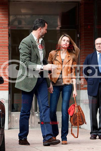 Prince Felipe of Spain and Princess Letizia of Spain visit King Juan Carlos of Spain at La Milagrosa Hospital in Madrid, Spain. March 03, 2013. (ALTERPHOTOS/Caro Marin) /NortePhoto