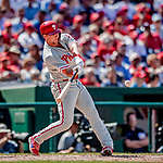 23 August 2018: Philadelphia Phillies outfielder Rhys Hoskins in action against the Washington Nationals at Nationals Park in Washington, DC. The Phillies shut out the Nationals 2-0 to take the 3rd game of their 3-game mid-week divisional series. Mandatory Credit: Ed Wolfstein Photo *** RAW (NEF) Image File Available ***