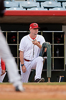 Florida Fire Frogs pitching coach Dan Meyer (37) during a Florida State League game against the Jupiter Hammerheads on April 8, 2019 at Osceola County Stadium in Kissimmee, Florida.  Florida defeated Jupiter 7-6 in ten innings.  (Mike Janes/Four Seam Images)